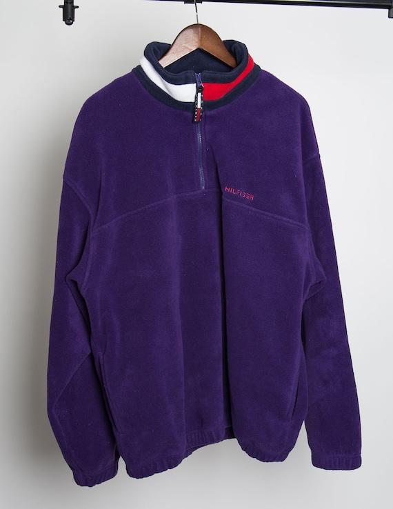 VTG Tommy Hilfiger Fleece Flag Collar 1990's | XL