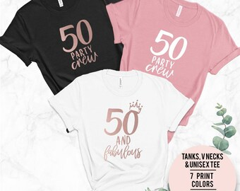50th Birthday T Shirt Squad Tee Parties Holidays Friends Gift Party Celebration
