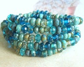 20 Bohemian GlassRondelle Color Mix Deep Sea 5 x 3 mm Donuts originial czech beads Minirondelle Beaded Beaded Bracelet Boho Hippie