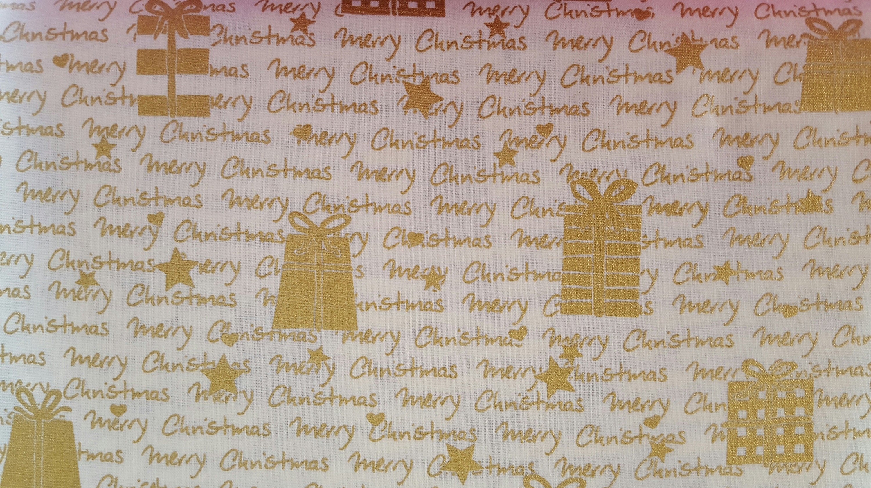 Stoff Weihnachten weiß gold Schrift Geschenk Nähhimmel | Etsy