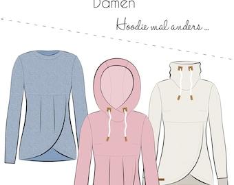 Cut pattern Lana Hoodie hooded shirt sweater wrap look Women's thread beetle