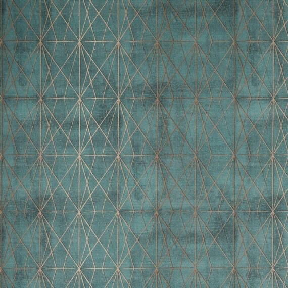 Deko Stoff Canvas Borneo petrol Rauten Muster | Etsy