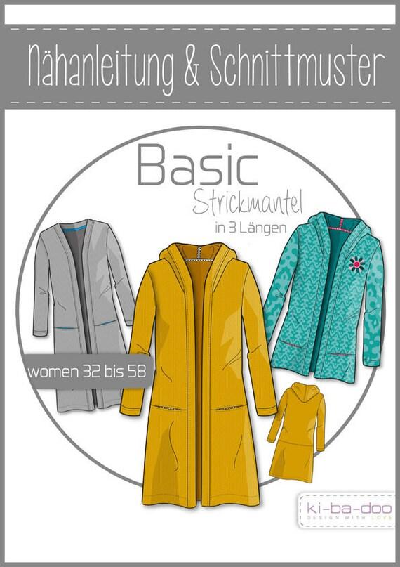 Schnittmuster Basic Strickmantel Kibadoo Strick | Etsy