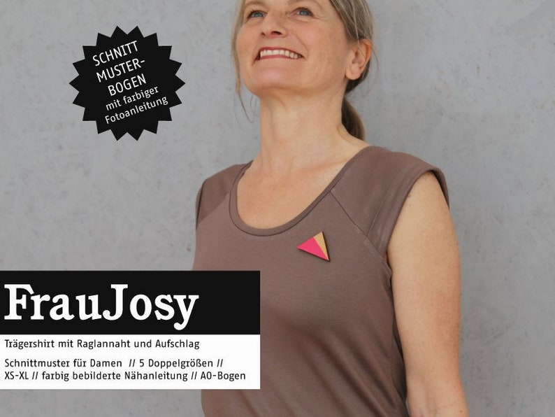 Pattern woman Josy wearer shirt ready to cut image 1