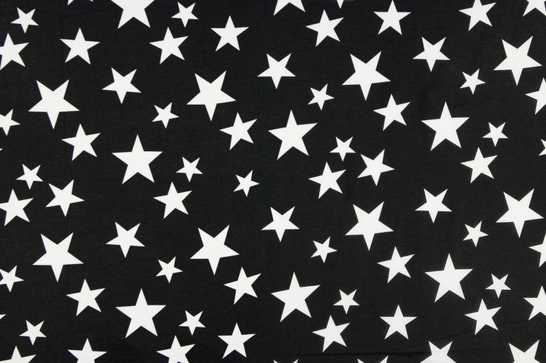 Fabric cotton voile star stars Black and white image 0