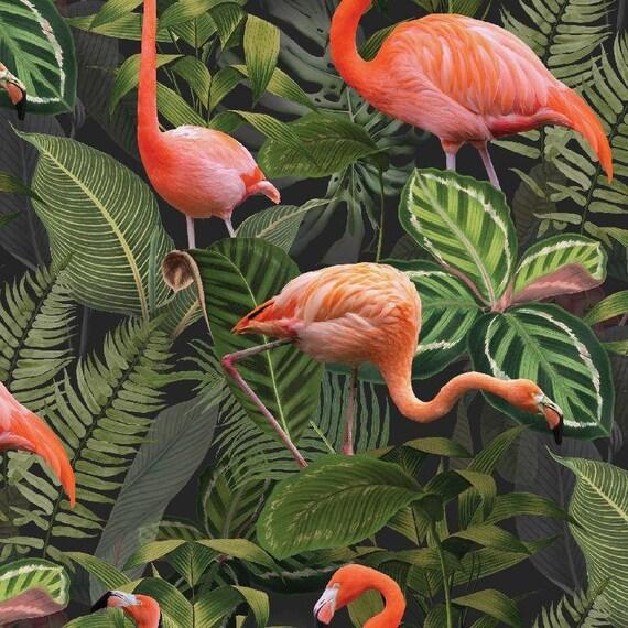 Tela decorativa tropical rosa verde canvasstoff decoraciones flamingos Flores