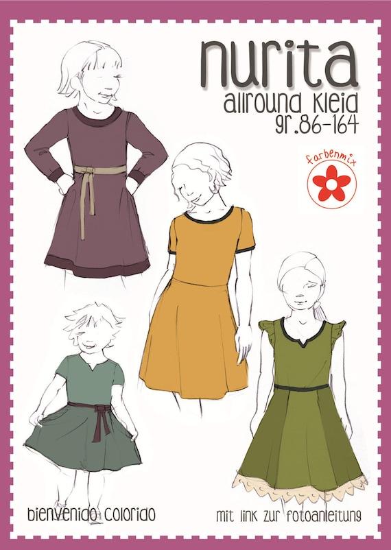 Schnittmuster Nurita Kleid Mädchen Bienvenido | Etsy