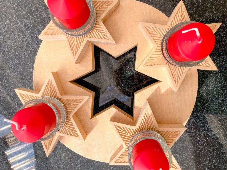 advent wreath for christmas Advent wreath made of wood for Christmas decoration carving wood art