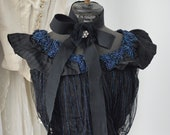 Stunning DELICATE BEAUTY Antique Victorian Evening Dress Silk Ball Gown Bodice Corset Corsage Top Nightblue Glass Bead France 1890