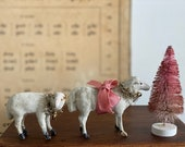 MERRY XMAS 2x Antique German PUTZ Sheep Wooden Stick Legs with Tinsel and Bell Composition Tuchstaub Erzgebirge - Germany 1900
