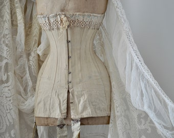 11792058c9 Antique French Victorian Bride Corset 19th Century with Lace Decoration