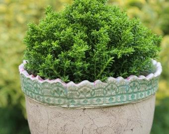 Potty, pot, planter, lace, ceramics, garden ceramics