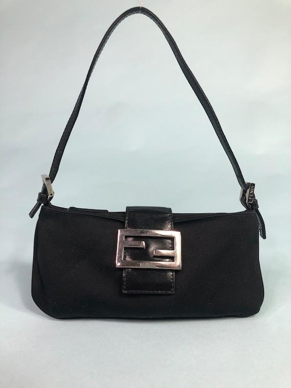Fendi mini black baguette handbag
