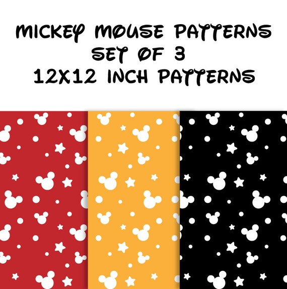 Mickey Mouse Pattern Mickey Mouse Digital Paper Etsy