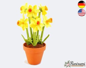 Crochet pattern narcissus • pot flower • Renirumi