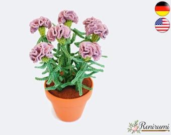 Crochet pattern carnation • pot flower • Renirumi