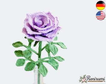 Crochet pattern rose • cut flower • Renirumi