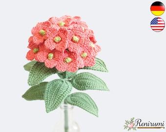 Crochet pattern hydrangea • cut flower • Renirumi