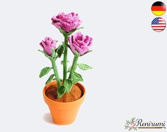 Crochet pattern rose • pot flower • Renirumi
