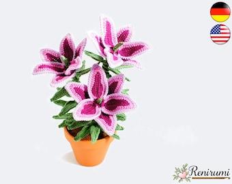 Crochet pattern lily • pot flower • Renirumi
