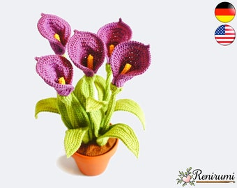 Crochet pattern calla • pot flower • Renirumi