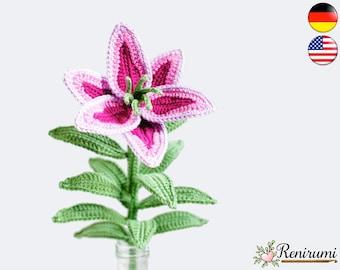 Crochet pattern lily • cut flower • Renirumi