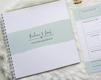 Gästebuch  für Fotos aus Fotobox oder Polaroidkamera mit Fragen   modernes Design   ideales kreatives Hochzeitsgeschenk