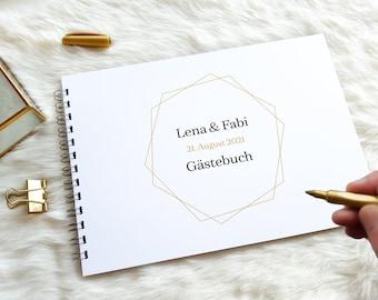 A4 Gästebuchkarte mit gold-anmutendem Druck   Super Alternative zum klassischen Gästebuch!