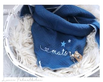 Musselin Tuch für Kinder Halstuch mit Sternen personalisiert mit Namen