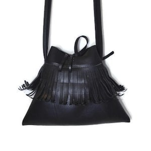 Recycled Fringe  Shoulder Purse handmade from Car Inner Tube and Strap made from bicycle tube