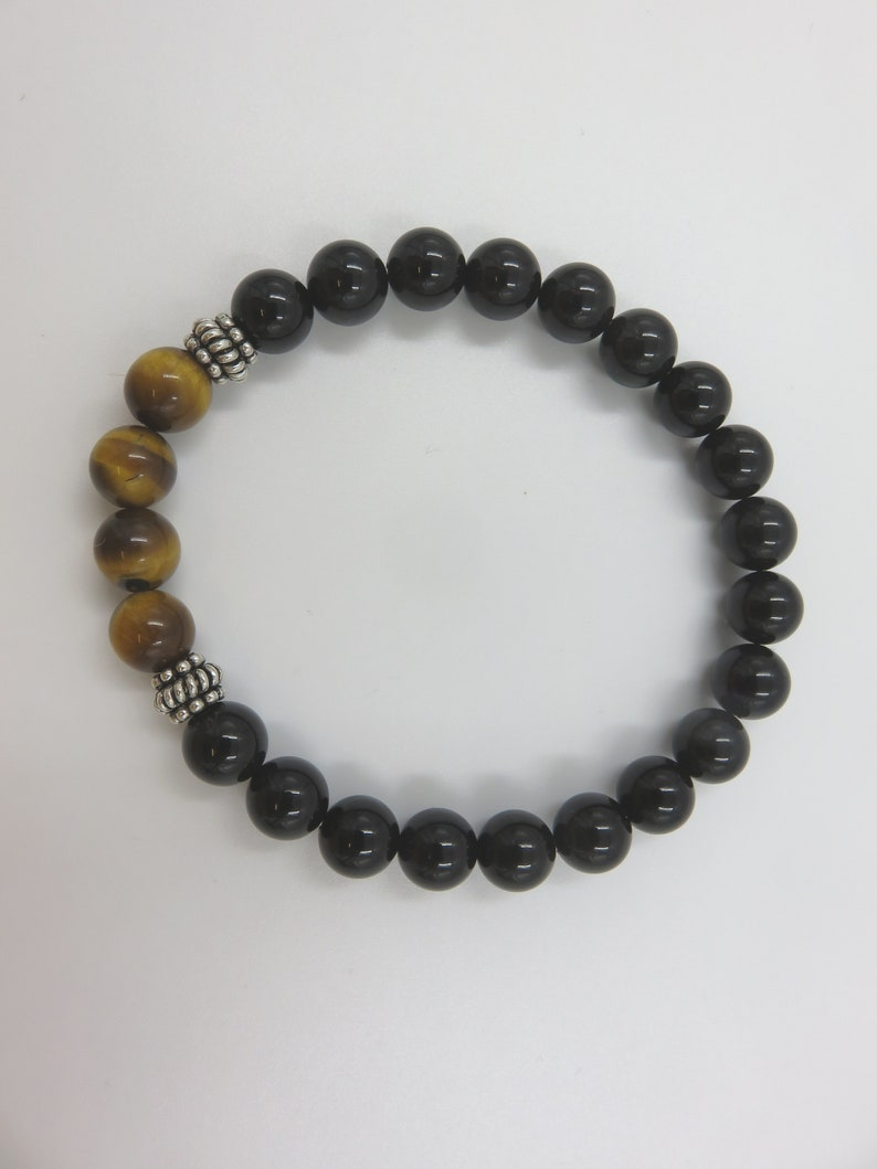 Gem beaded bracelet for men with silver onyx and tiger eye