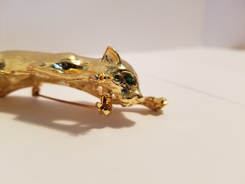 Hinged Tail Large Gold Panther Brooch With Green Eyes Shoulder Sitter Pin **New Lower Price**