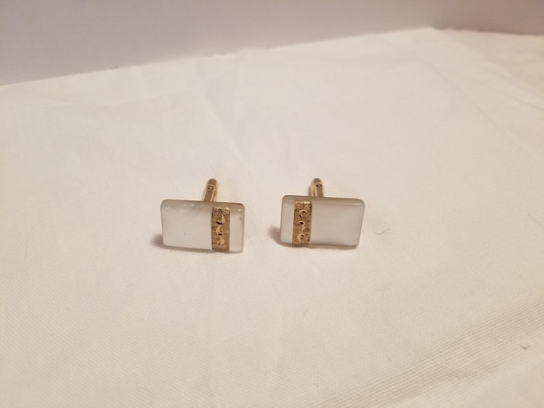 Vintage Swank Mother of Pearl and Gold Tone Cuff Links