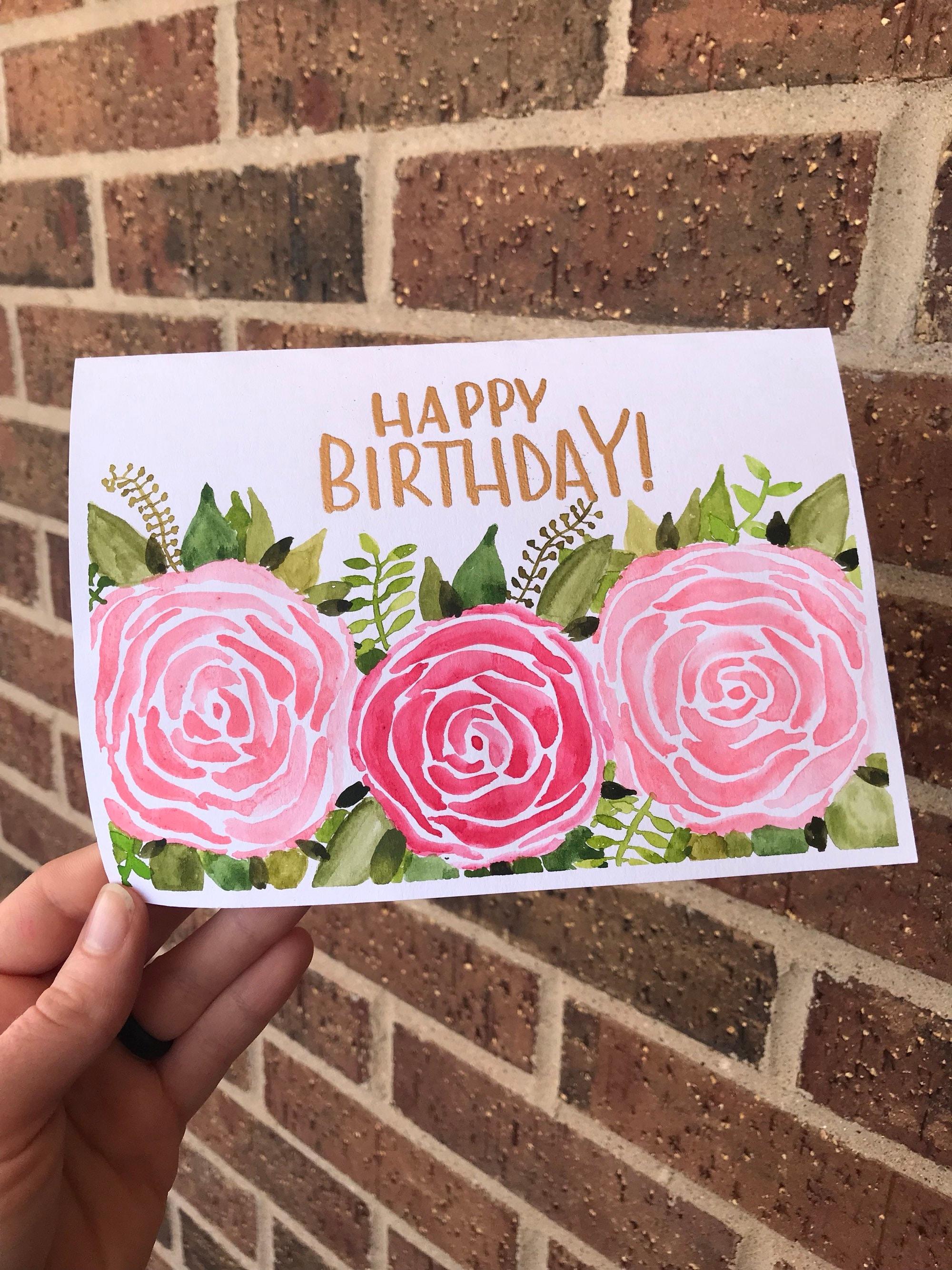 Happy birthday card pink roses flowers handpainted etsy image 0 izmirmasajfo