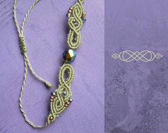Filigree micromakramee bracelet, macrame jewelry, micromacrame bracelet, boho, gift for woman, lime green
