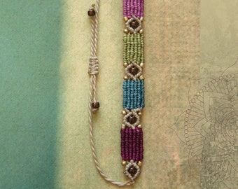 Macrame bracelet, macrame jewelry, micromacrame bracelet, boho, olive, burgundy, petrol, cream, gift for woman