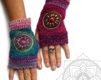 Hand warmer, pulse warmer, arm warmers, crocheted, autumn, colorful, cuffs, embroidered, glass stone in cross-cauldron socket, rocailles