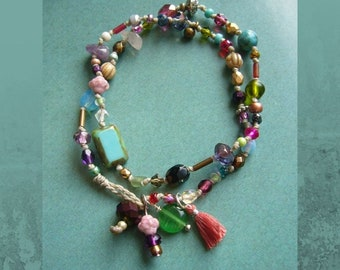 RESERVED * * * Double row boho bracelet, colorful glass beads, knotted, bracelet, gift for woman, pearl pendant, tassel