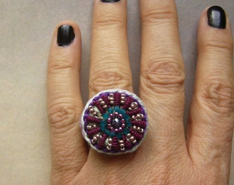 Crochet ring, crochet ring, cotton ring, gift for woman, textile jewelry, unique
