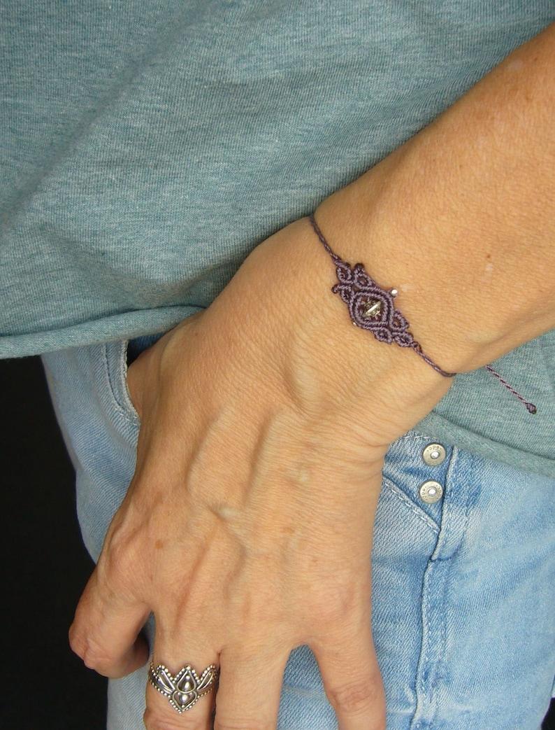 Macrame bracelet micromacrame bracelet purple gift for image 0