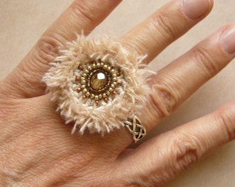 Crochet ring, crochet ring, cotton ring, Wuschelring, gift for woman, textile jewelry, unique, embroidered