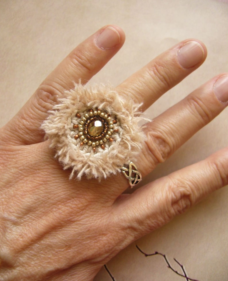 Crochet ring crochet ring cotton ring Wuschelring gift for image 0