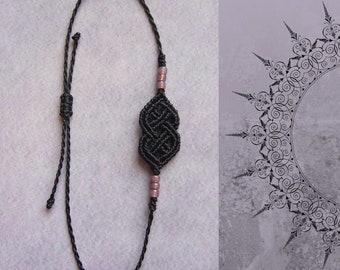 Macrame bracelet, macrame jewelry, micromacrame bracelet, black, gift for woman, Celtic knot, rocailles