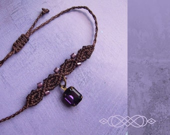 Micromakramee Bracelet, Macrame Jewelry, micromacrame bracelet, boho, Gift for Woman, Chocolate Brown, Purple