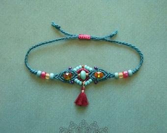 Macrame bracelet, micromacrame bracelet, gift for woman, colorful, boho, glass cut beads, tassel