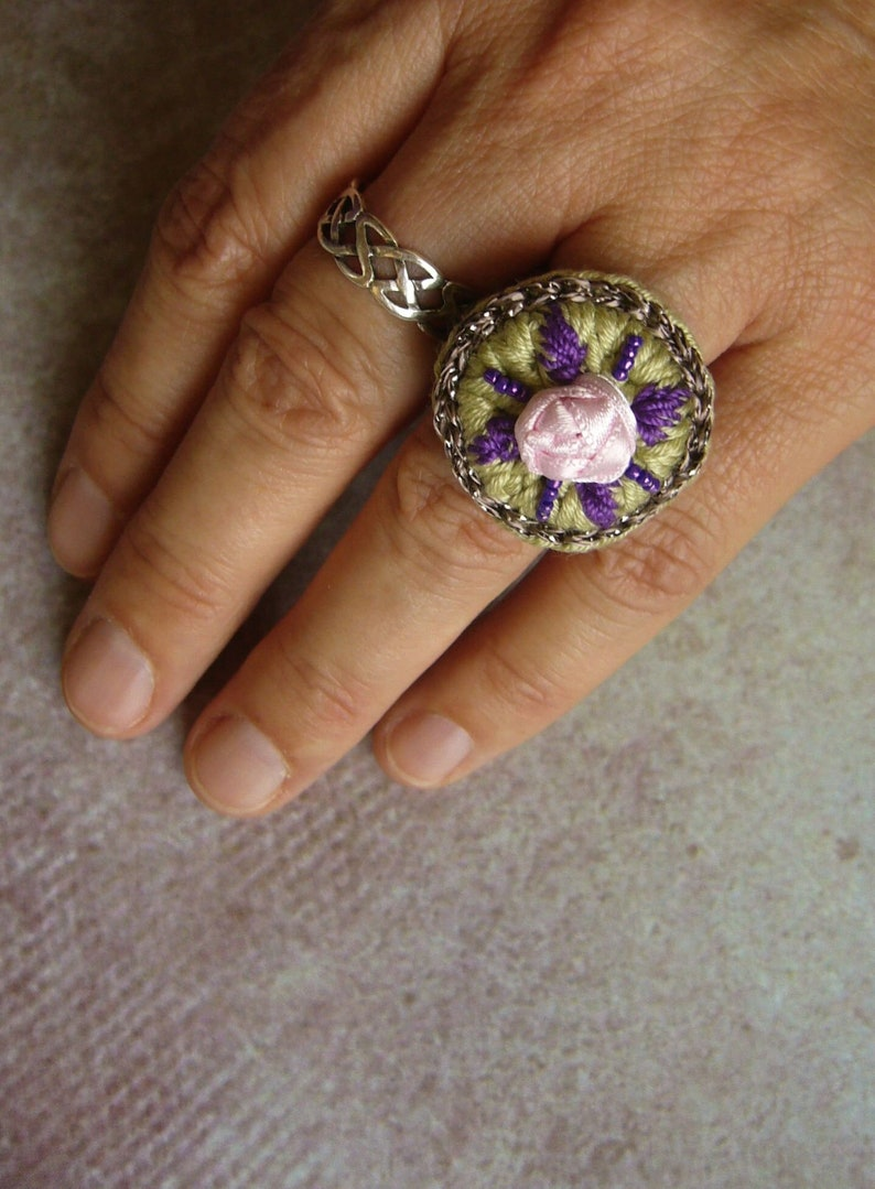Crochet ring crochet ring cotton ring gift for woman image 0