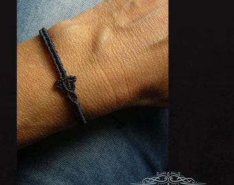 Macrame bracelet, minimalist, micromacrame bracelet, gift for woman, anthracite