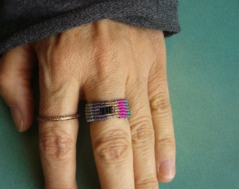 Macrame ring, band ring, micromacrame ring, gift for woman, micromakramee jewelry, ribbon ring, colorful