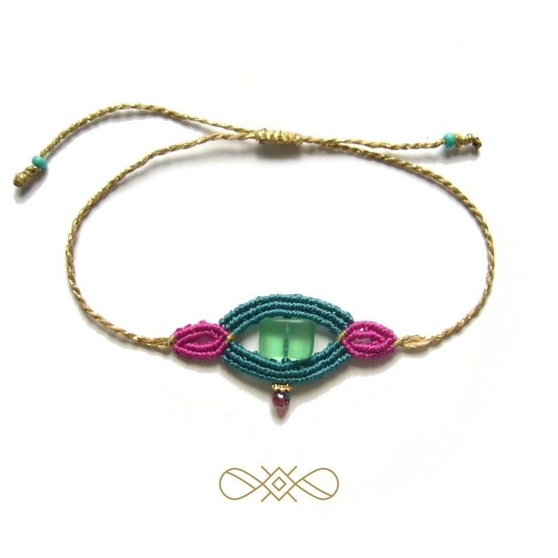 Macrame bracelet micromacrame bracelet gift for woman pink image 0