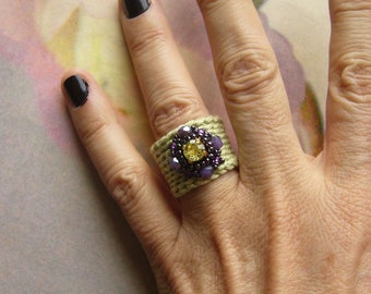 Crochet ring, crochet ring, ring, embroidered, unique, ribbon ring, Swarovksi stone in cross kettle socket, glass cut beads, rocailles